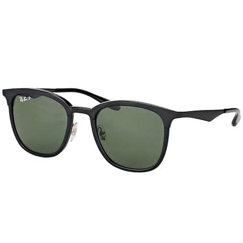 Ray-Ban RB 4278 62829A Black Matte Black Plastic Square Sunglasses Green Polarized Lens