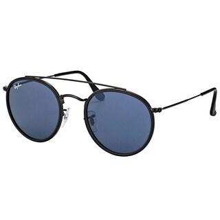 Ray-Ban RB 3647N 002/R5 Round Double Bridge Black Metal Round Sunglasses Grey Lens