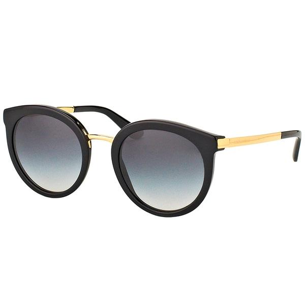 f92fae5eb189 Dolce  amp  Gabbana DG 4268 501 8G Black Plastic Round Sunglasses Grey  Gradient Lens