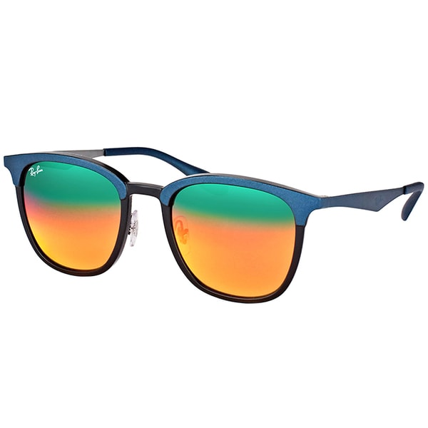 dba71826202 Ray-Ban RB 4278 6286A8 Black Matte Blue Plastic Square Sunglasses Red Mirror  Lens