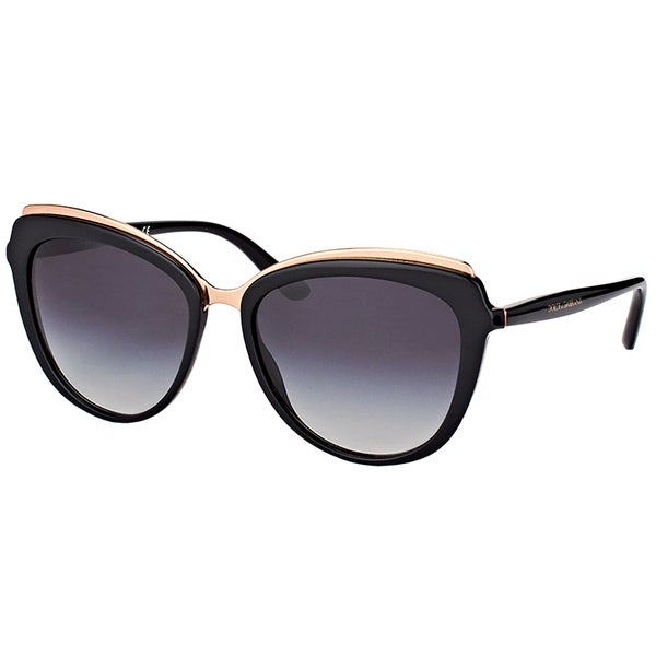 476059b7084ea Shop Dolce   Gabbana DG 4304 501 8G Black Plastic Cat-Eye Sunglasses ...
