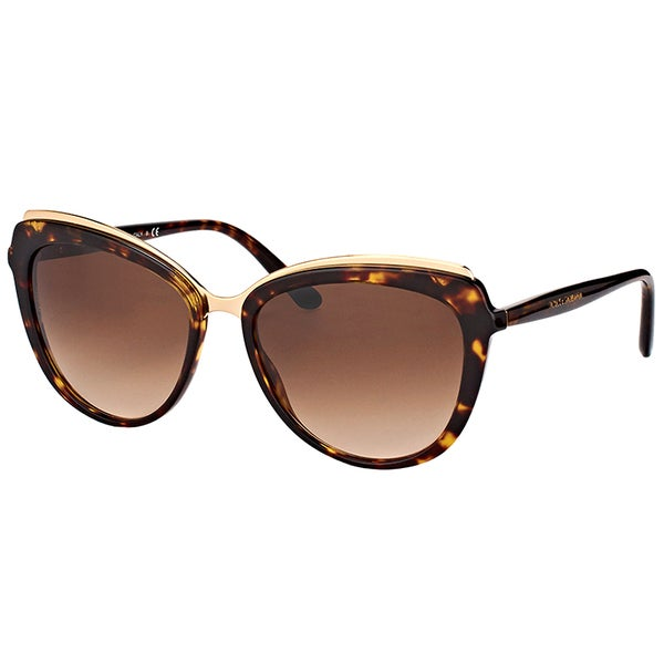 6e716eecc2c4 Dolce & Gabbana DG 4304 502/13 Havana Plastic Cat-Eye Sunglasses Brown
