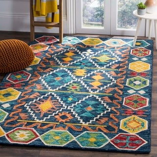 Safavieh Aspen Southwestern Geometric Hand-Tufted Wool Navy/ Gold Area Rug (8' x 10')