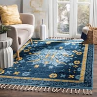 Safavieh Kenya Transitional Geometric Hand-Knotted Wool Blue/ Gold Area Rug (9' x 12')