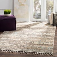 Safavieh Kenya Transitional Geometric Hand-Knotted Wool Beige/ Silver Area Rug - 8' x 10'