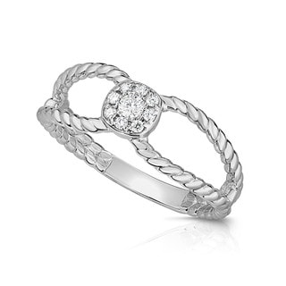 Noray Designs 14K Gold Diamond (0.11 Ct, G-H Color, SI2-I1 Clarity) Twisted Stackable Cluster Ring - White G-H