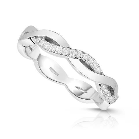 Noray Designs 14K Gold Diamond (0.11 Ct, G-H Color, SI2-I1 Clarity) Infinity Ring - White G-H - White G-H