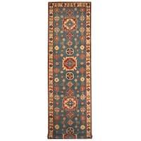 Handmade Herat Oriental Afghan Tribal Kazak Wool Runner  - 3'11 x 9'4 (Afghanistan)