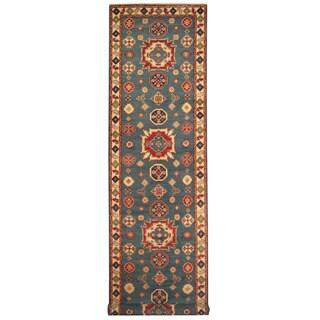 Herat Oriental Afghan Hand-knotted Tribal Kazak Wool Runner - 3'11 x 9'4