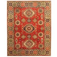 Handmade Herat Oriental Afghan Tribal Kazak Wool Rug (Afghanistan) - 9'1 x 11'7