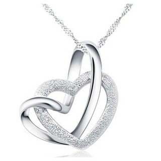 "Intertwined Heart Necklace; 18"", Silver"