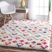 The Curated Nomad Ashbury Moroccan Trellis Bohemian Shag Area Rug - 4' x 6'