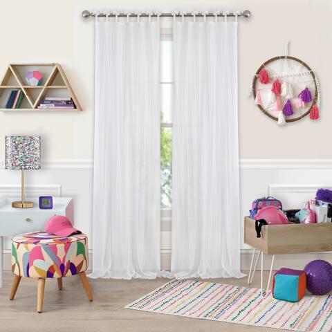 Elrene Greta Kid's Tab Top Sheer Window Curtain Panel