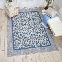 Nourison Garden Party Ivory/Blue Indoor/Outdoor Area Rug - 9'6 x 13'