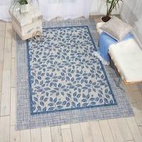 """Nourison Garden Party Ivory/Blue Indoor/Outdoor Area Rug - 9'6"""" x 13'"""