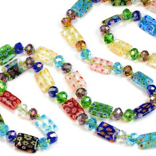 Sweet Romance Long Millefiori Glass Rectangle Knotted Beads Necklace