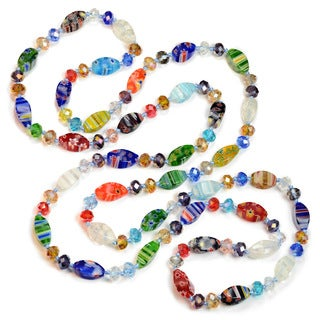 Sweet Romance Long Millefiori Glass Rainbow Knotted Beads Necklace