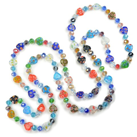 Sweet Romance Millefiori Glass Rainbow Hearts Knotted Beads Necklace
