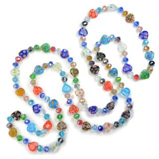 Sweet Romance Millefiori Glass Rainbow Hearts Knotted Beads Necklace|https://ak1.ostkcdn.com/images/products/16563832/P22896083.jpg?impolicy=medium