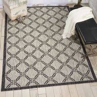 Nourison Garden Party Ivory/Charcoal Indoor/Outdoor Area Rug - 9'6 x 13'