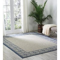 "Nourison Garden Party Ivory/Blue Indoor/Outdoor Area Rug - 9'6"" x 13'"