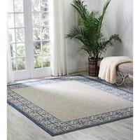 """Nourison Garden Party Ivory/Blue Indoor/Outdoor Area Rug - 5'6"""" x 7'6"""" /8'6"""" x 11'6"""""""