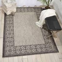 Nourison Garden Party Ivory/Charcoal Indoor/Outdoor Area Rug - 9'6 x 13'