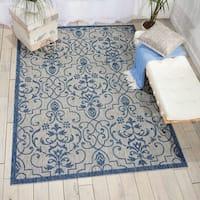 Nourison Garden Party Ivory/Blue Indoor/Outdoor Area Rug - 9'6 x 13'