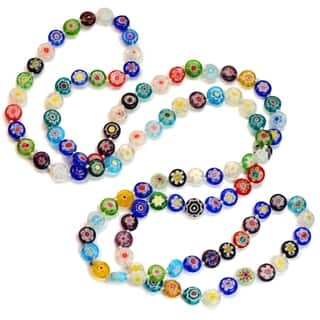 Sweet Romance Millefiori Glass Flower Disc Knotted Beads Necklace|https://ak1.ostkcdn.com/images/products/16563857/P22896086.jpg?impolicy=medium