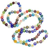 Sweet Romance Long Rainbow Millefiori Glass Knotted Beads Necklace