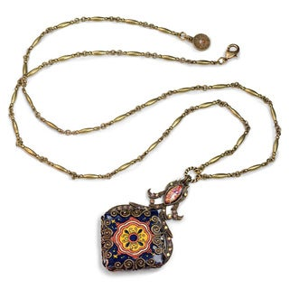 Sweet Romance Filigree Talavera Tile Pendant Necklace
