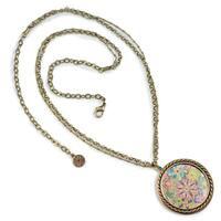Sweet Romance Engraved Boho Flower Medallion Necklace