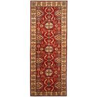 Herat Oriental Afghan Hand-knotted Tribal Kazak Wool Runner (4'10 x 13'8)