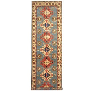 Herat Oriental Afghan Hand-knotted Tribal Kazak Wool Runner (3'11 x 16'3)|https://ak1.ostkcdn.com/images/products/16563886/P22896104.jpg?impolicy=medium