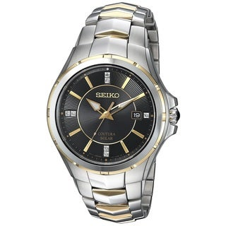 Seiko Men's SNE444 Solar Coutura Diamond Two Tone Date Watch