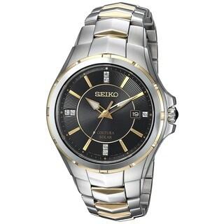 Seiko Men's SNE444 Solar Coutura Diamond Two Tone Date Watch