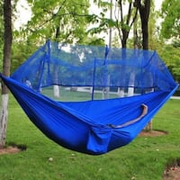 Outdoor Double Hammock with Net Portable Parachute Cloth Garden Hanging Sleeping Travel Camping Dormitory Bedroom