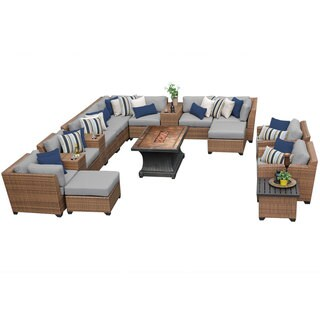 Outdoor Home Bayou Outdoor Patio Wicker Lounge Set with Fire Pit (17-piece Set)