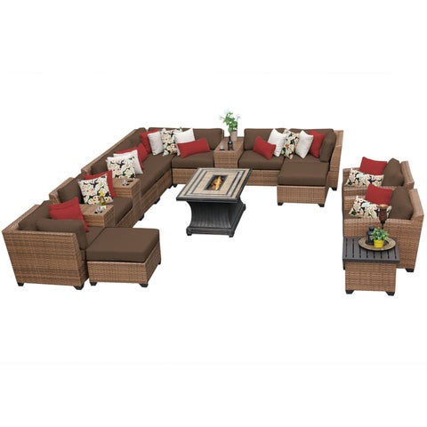 Outdoor Home Bayou Wicker 17-piece Outdoor Patio Lounge and Fire Pit Set