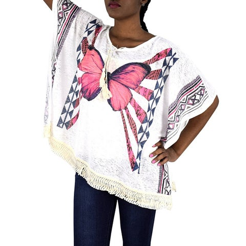 Peach Couture Butterfly Print Tasseled Lightweight Summer Beach Cover Up Tunic Cardigan