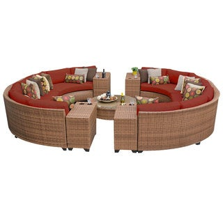 Outdoor Home Bayou 11-Piece Outdoor Patio Rounded Wicker Sectional Set