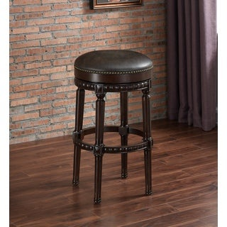 Melton Brown Bonded Leather/Wood Backless Bar Height Stool