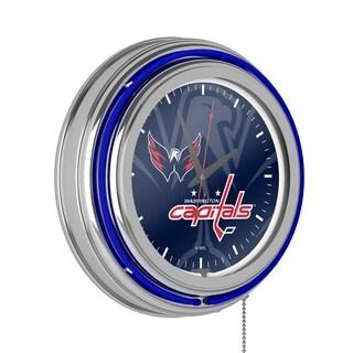NHL Chrome Double Rung Neon Clock - Watermark