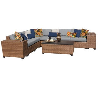Outdoor Home Bayou Outdoor Patio Wicker Sectional with Storage Table (9-piece Set)