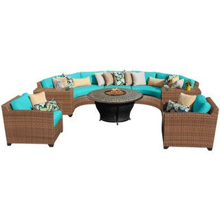 Bayou 8-piece Wicker Rounded Outdoor/ Patio Sectional with Armchairs and Fire Pit
