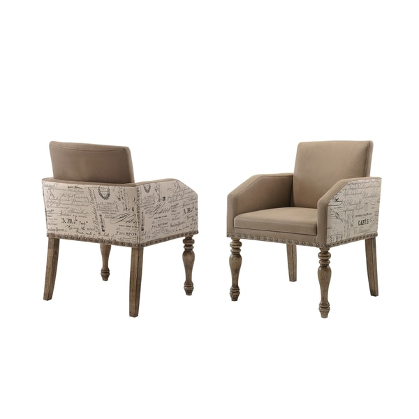 Birmingham Brown Microfiber Script Printed Armchair (Set Of 2)
