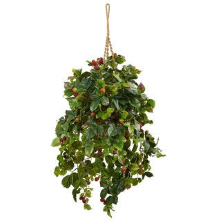 Nearly Natural Silk Raspberry Plant Hanging Basket