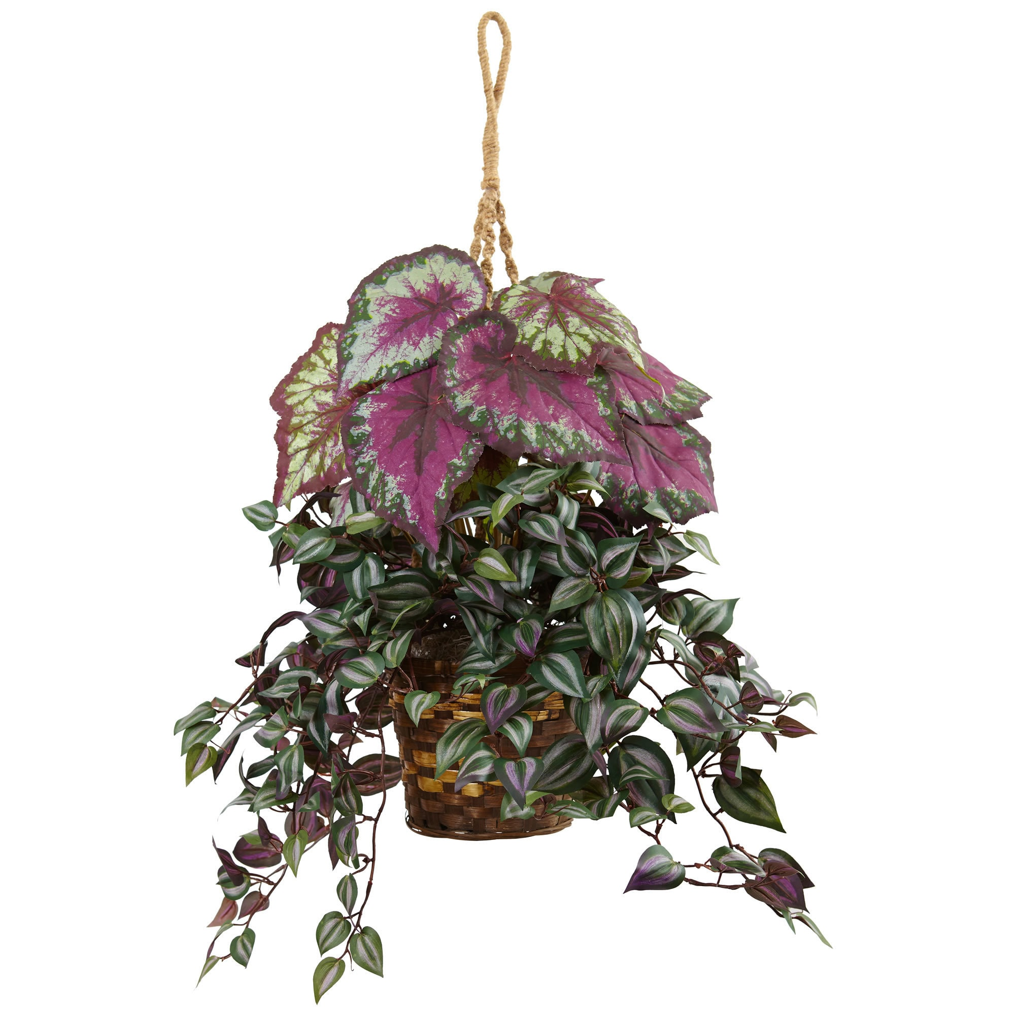 Nearly Natural Silk Artificial Wandering Jew and Begonia ...