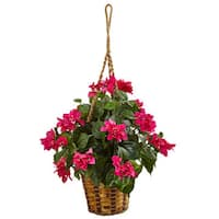 Nearly Natural Bougainvillea in Hanging Basket