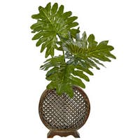 Nearly Natural Silk Artificial Selloum in Open Weave Vase